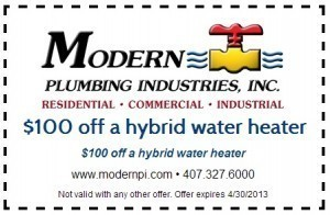 100 off a hybrid water heater in orlando